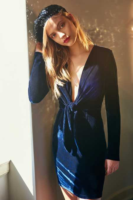 MINKPINK Midnight Hour Plunging Velvet Dress