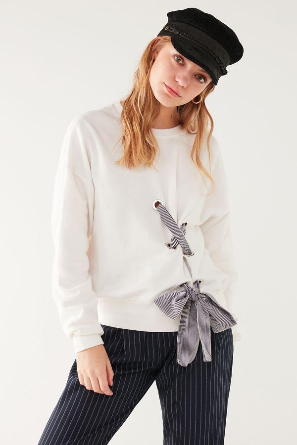 7afa5f5cc3 UO Tie-Through Lace-Up Sweatshirt