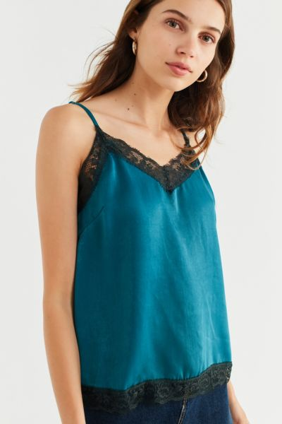 UO Lace Trim Cami - Dark Green XS at Urban Outfitters