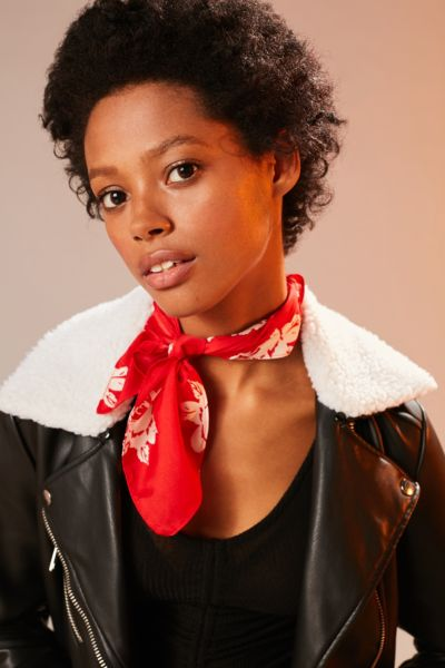 Western Silky Mini Square Scarf - Red One Size at Urban Outfitters