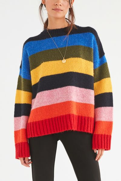 Uo Kari Rainbow Striped Oversized Sweater Urban Outfitters