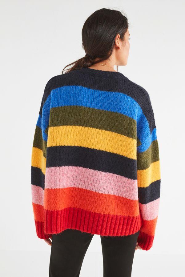 Slide View: 4: UO Kari Rainbow Striped Oversized Sweater