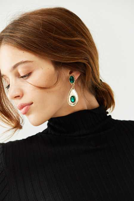 Emerald Rope Statement Drop Earring