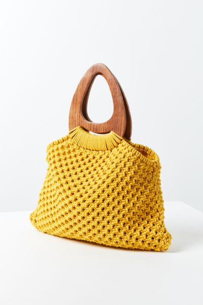 Large Wood Handle Macrame Tote Bag - Yellow One Size at Urban Outfitters