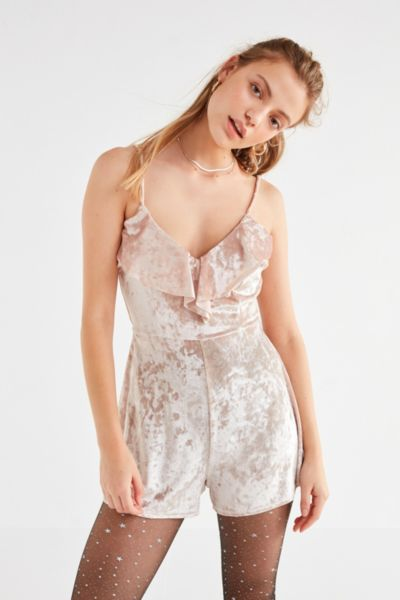 UO Crushed Velvet Ruffle Romper - Cream XS at Urban Outfitters