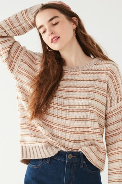 UO Hallie Striped Crew-Neck Sweater - Neutral Multi XS at Urban Outfitters