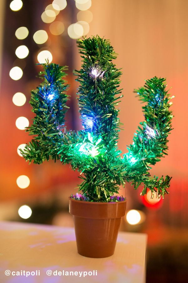 light up potted cactus christmas tree