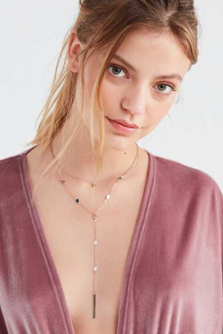 Diamond Disc Layered Lariat Necklace