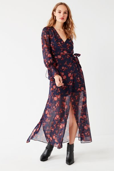 The Fifth Label Capital Sheer Wrap Maxi Dress - Blue Multi XS at Urban Outfitters