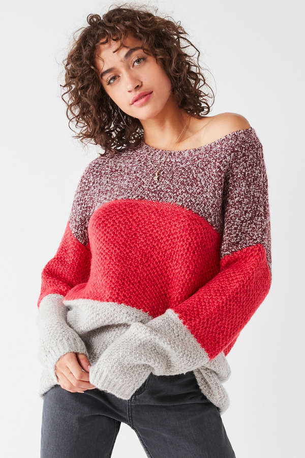 UO Jackie Colorblock Tunic Sweater | Urban Outfitters