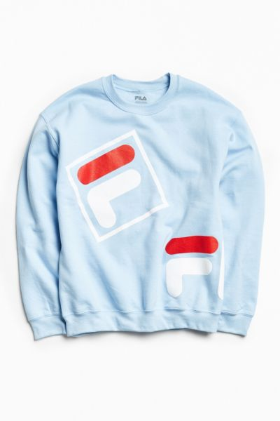 FILA Throwback Crew Neck Sweatshirt - Sky S at Urban Outfitters