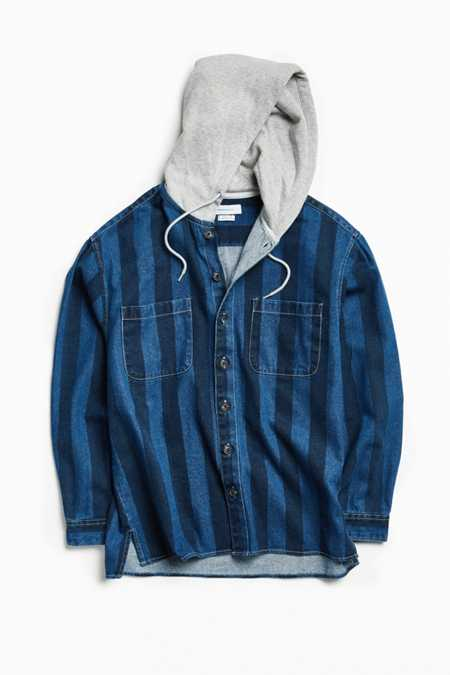 UO Printed Denim Hooded Button-Down Shirt