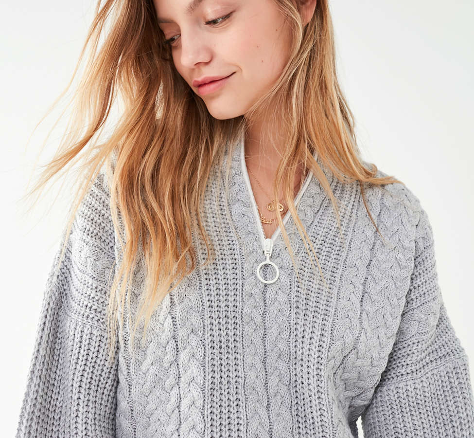 Slide View: 1: UO Cable Knit Half-Zip Sweater