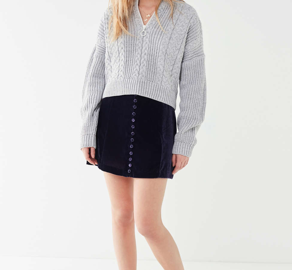 Slide View: 2: UO Cable Knit Half-Zip Sweater