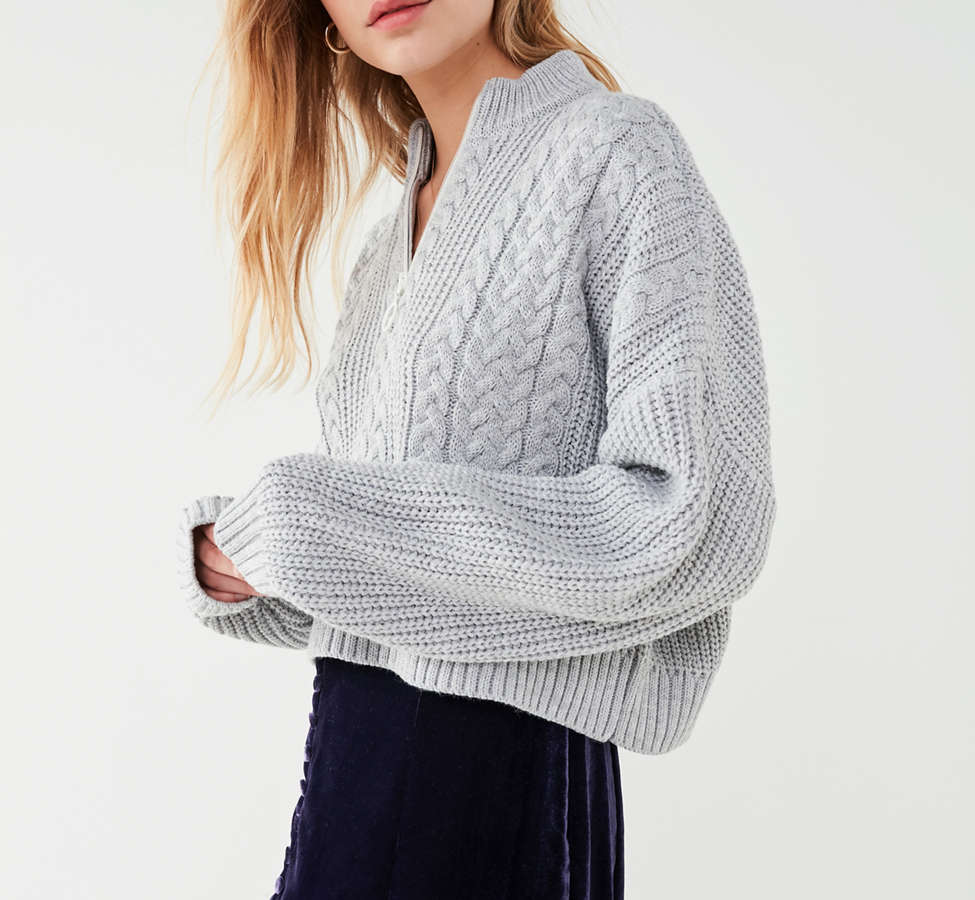 Slide View: 3: UO Cable Knit Half-Zip Sweater