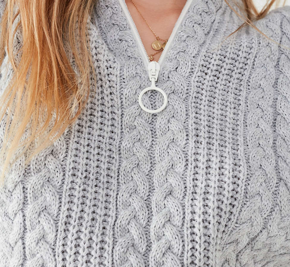 Slide View: 5: UO Cable Knit Half-Zip Sweater