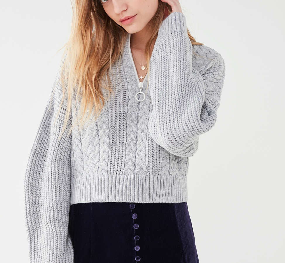 Slide View: 6: UO Cable Knit Half-Zip Sweater