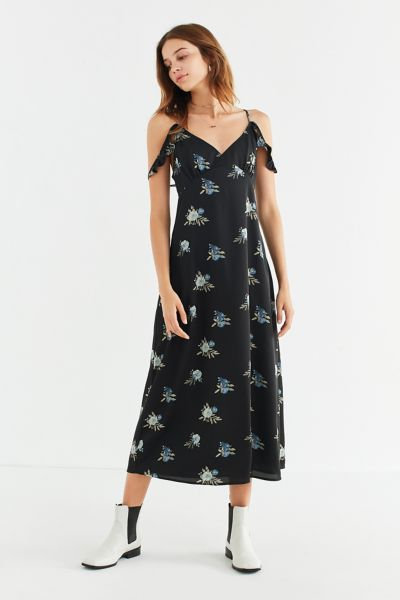 UO Empire-Waist Ruffle Sleeve Midi Dress - Black Multi XS at Urban Outfitters
