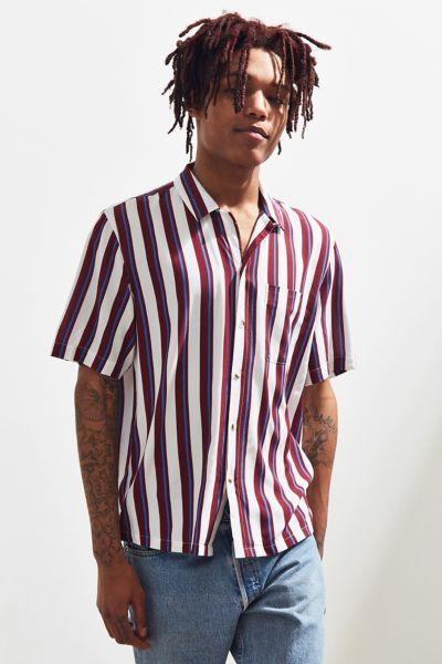 Uo Rayon Vertical Stripe Short Sleeve Button Down Shirt