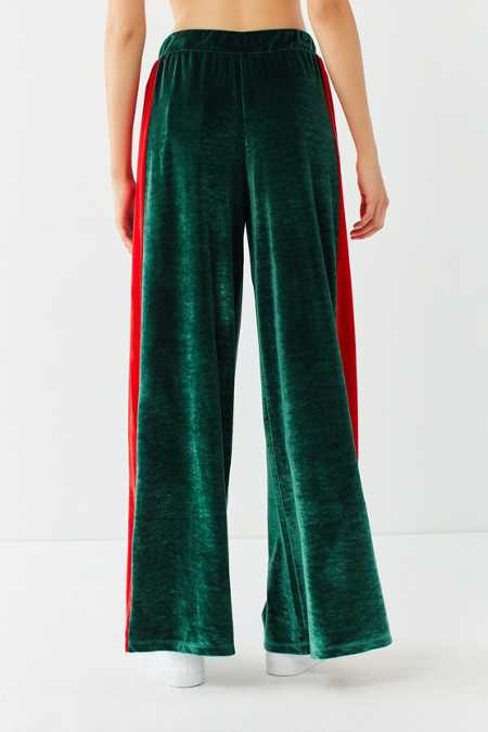 Slide View: 4: UO Striped Velour Wide-Leg Pant
