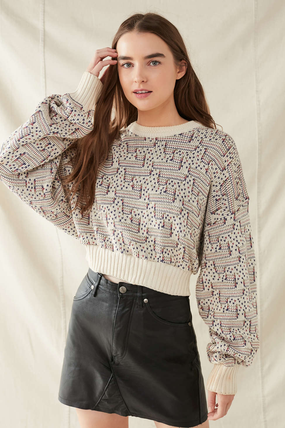Urban Renewal Recycled Printed Cropped Sweater Urban Outfitters