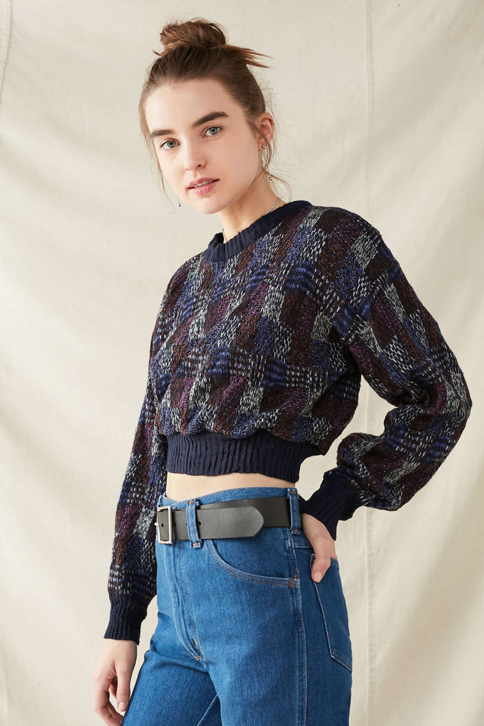 Slide View: 4: Urban Renewal Recycled Printed Cropped Sweater