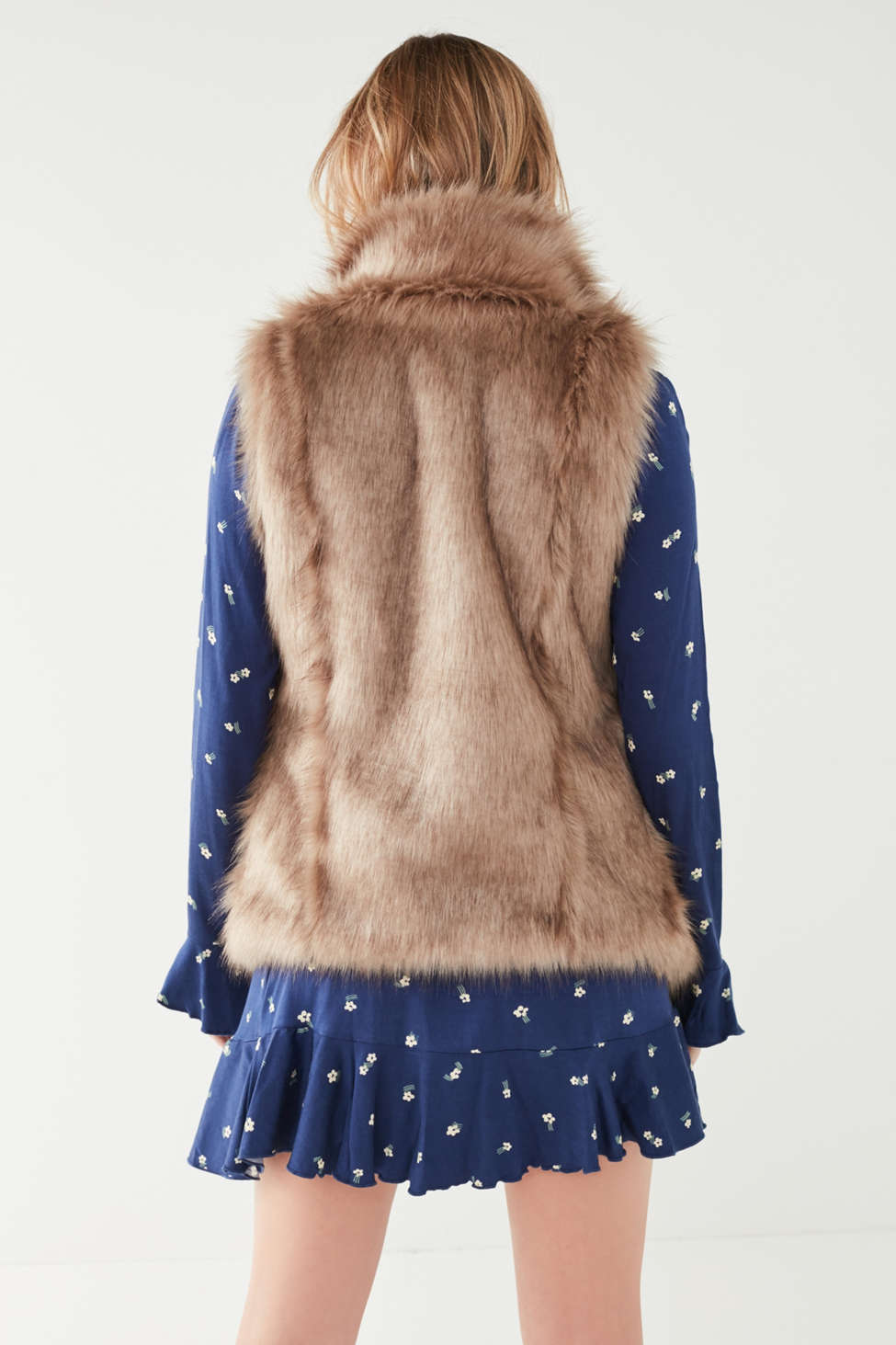 Faux Fur Collared Vest | Urban Outfitters