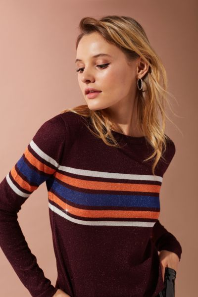 UO Diane Striped Lurex Sweater - Maroon XS at Urban Outfitters