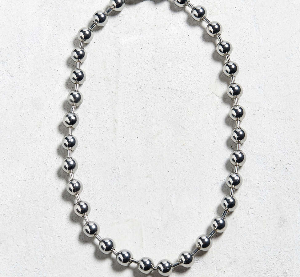 Slide View: 1: Chrome Shot Beaded Necklace