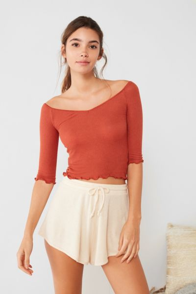 Out From Under Brooke Off-The-Shoulder Ribbed Top - Rust XS at Urban Outfitters