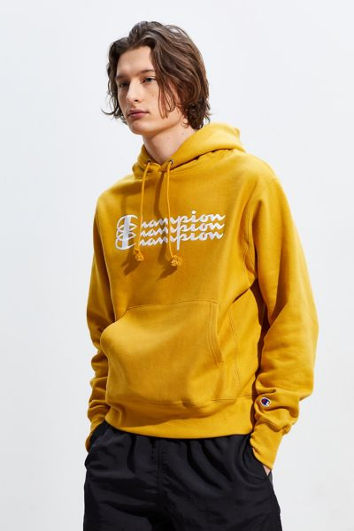 Champion Triple Script Reverse Weave Hoodie Sweatshirt - Gold S at Urban Outfitters