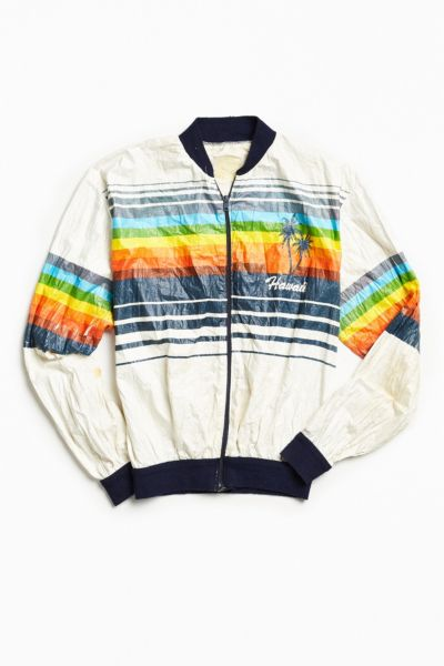 Vintage Hawaii Rainbow Stripe Cycling Jacket - White S at Urban Outfitters
