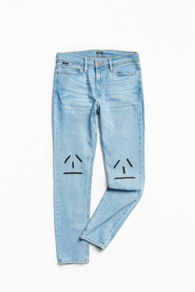 BDG X Andrew Jeffrey Wright Hand-Painted Frown Stonewash Skinny Jean - Vintage Denim Light 32 at Urban Outfitters