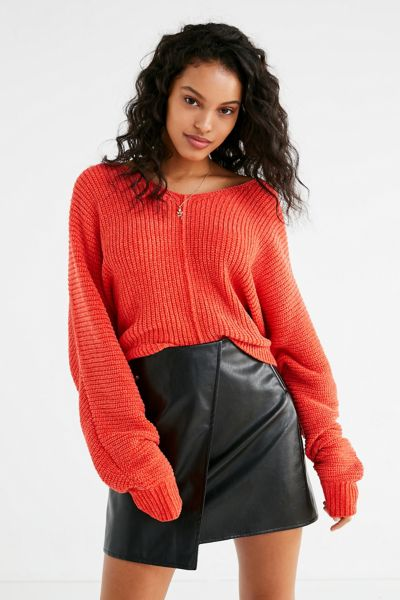 UO Oversized Chenille V-Neck Sweater - Bright Red XS at Urban Outfitters