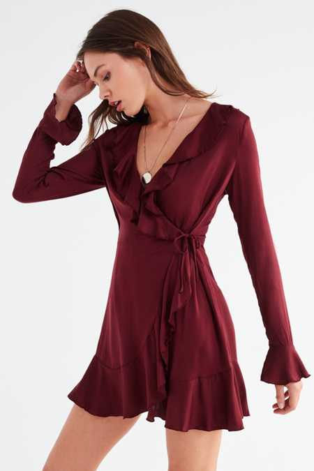 UO Long Sleeve Ruffle Wrap Dress