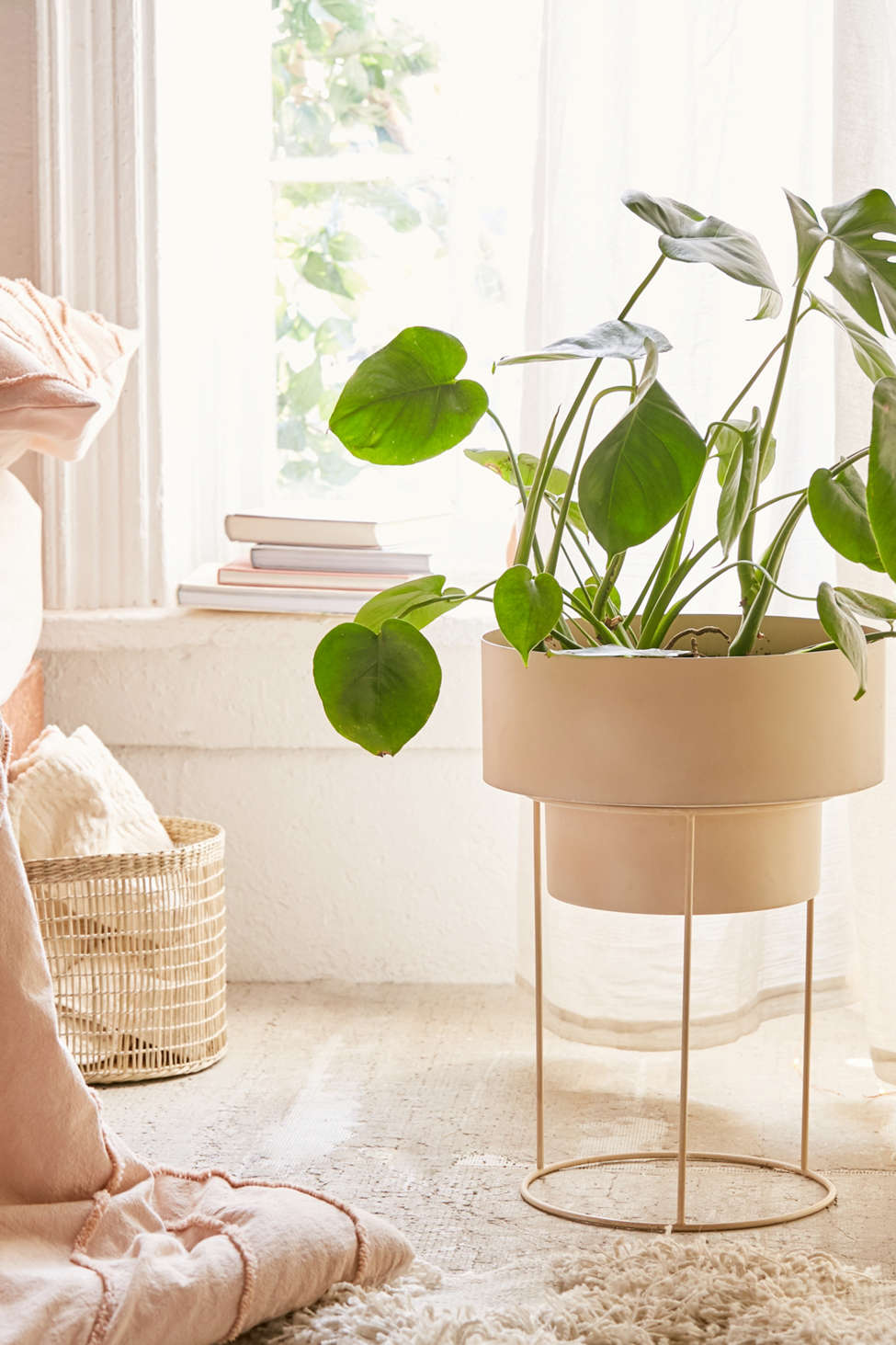 "Slide View: 1: Noa 12"" Metal Planter + Stand"