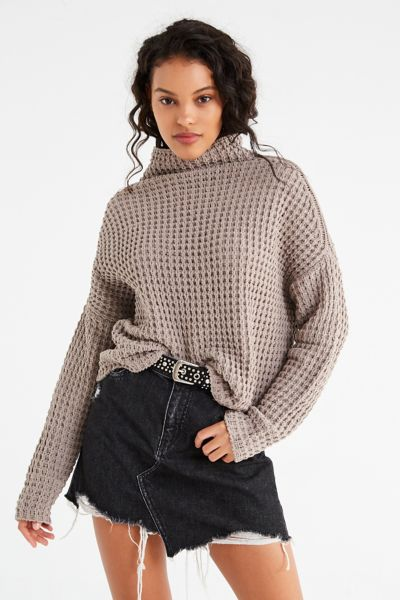 UO Waffle Knit Turtleneck Sweater - Taupe XS at Urban Outfitters