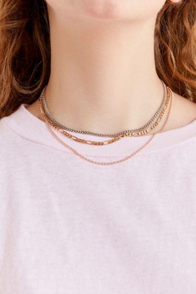 Simple Chain Necklace Set - Charcoal One Size at Urban Outfitters