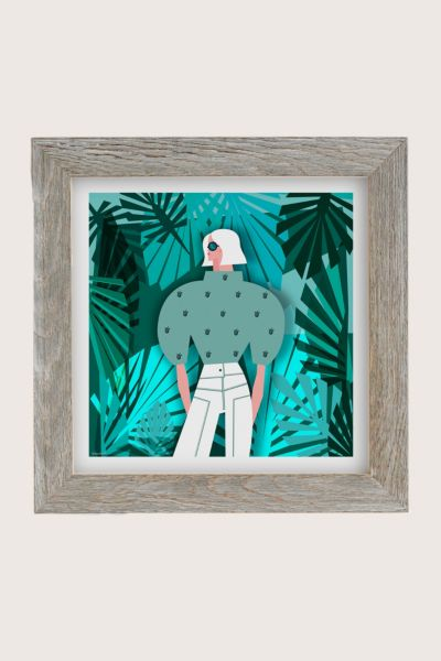 Veronica Grech Tropical Mood Art Print - Dark Grey 12in x12in at Urban Outfitters