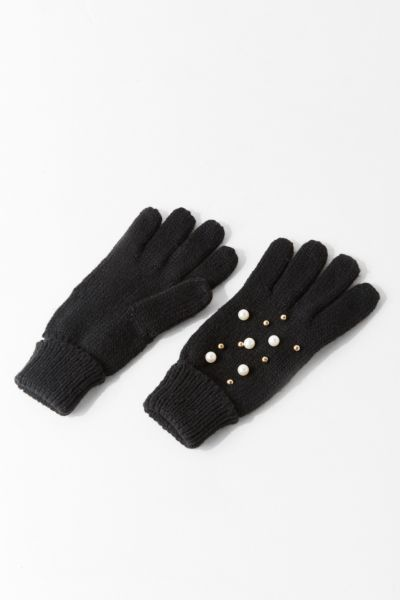 Pearl Embellished Glove - Black One Size at Urban Outfitters