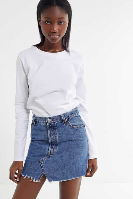 Urban Renewal Recycled Levi's Notched Denim Mini Skirt