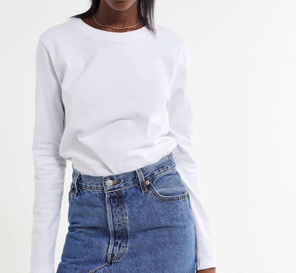 Slide View: 1: Urban Renewal Recycled Levi's Notched Denim Mini Skirt