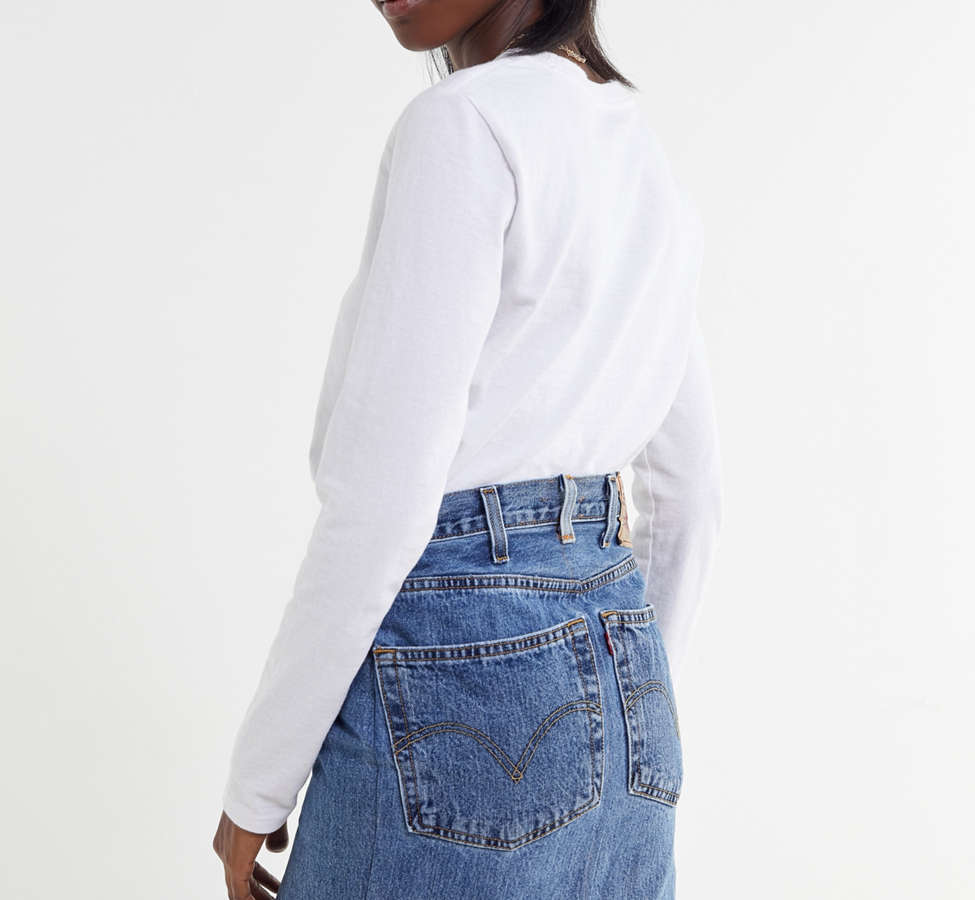 Slide View: 2: Urban Renewal Recycled Levi's Notched Denim Mini Skirt