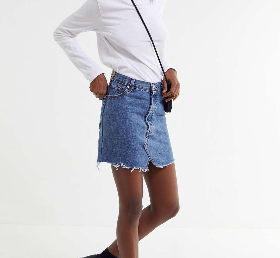 Slide View: 4: Urban Renewal Recycled Levi's Notched Denim Mini Skirt