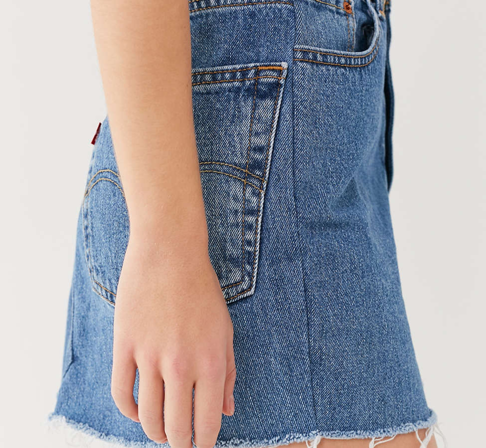 Slide View: 6: Urban Renewal Recycled Levi's Notched Denim Mini Skirt
