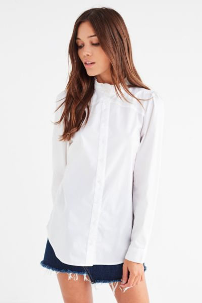 UO Ella Poplin Ruffle Top - White XS at Urban Outfitters