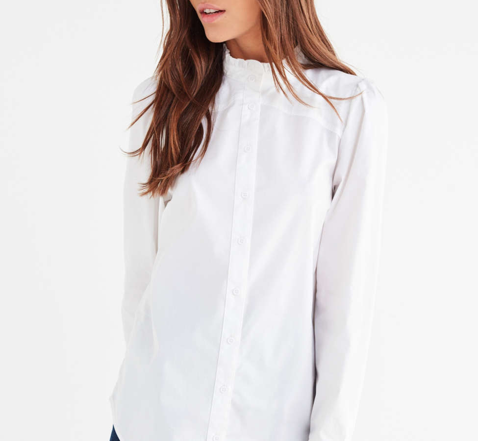 Slide View: 1: UO Ella Poplin Ruffle Top