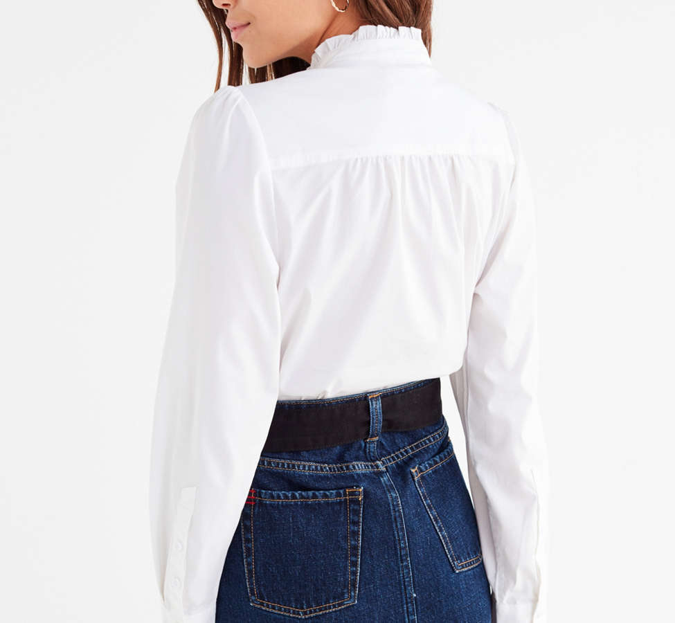 Slide View: 6: UO Ella Poplin Ruffle Top