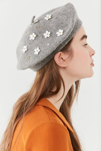 Wool Daisy Beret - Grey One Size at Urban Outfitters