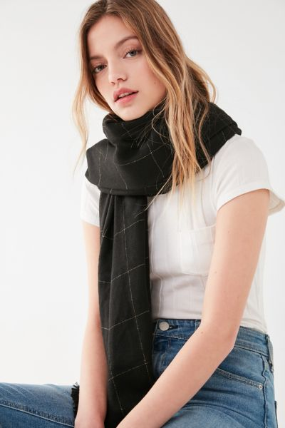 Metallic Plaid Brushed Woven Blanket Scarf - Black Multi One Size at Urban Outfitters